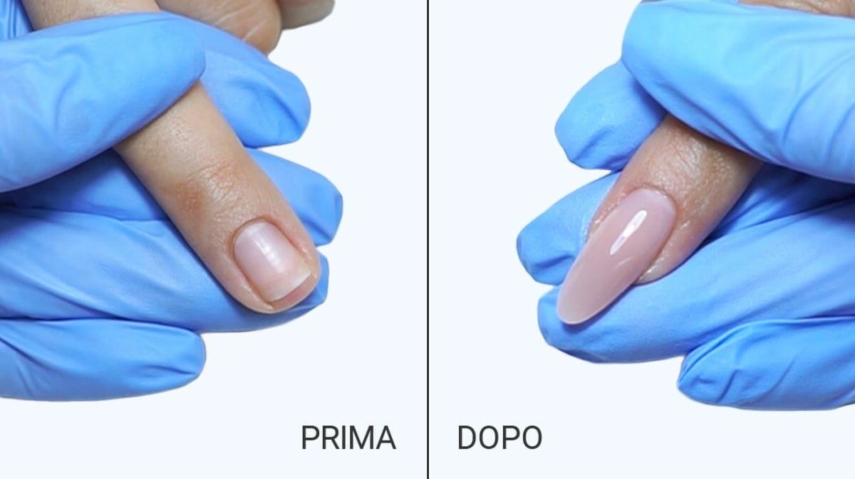 ricostruzione unghie prima e dopo
