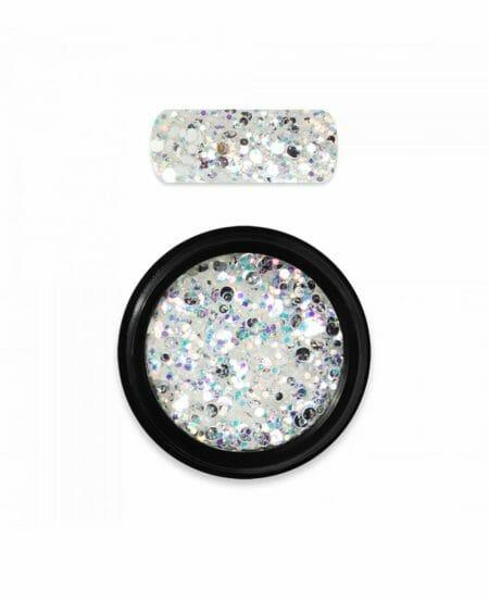 Decorazione unghie glitter esagonali mix holo 05 bianca