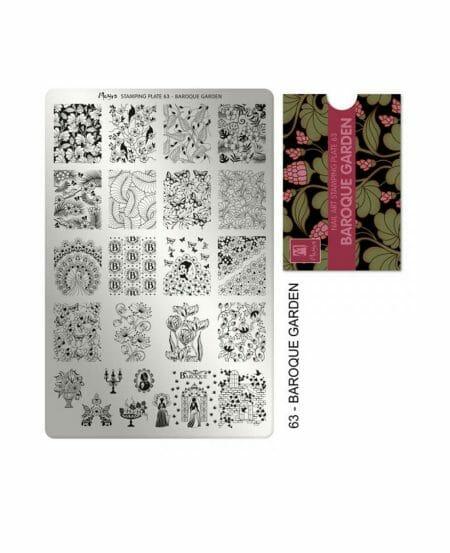 Piastra Stamping Moyra® 63 - Baroque Garden - 9,5cm x 14,5cm