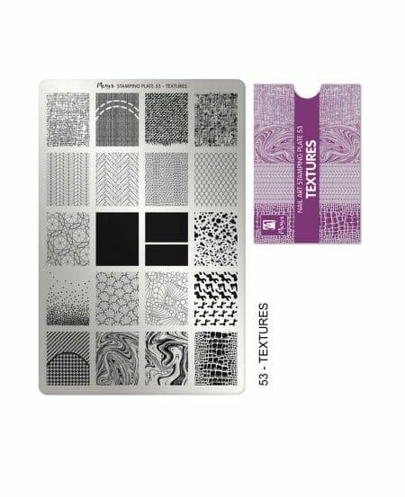 Piastra Stamping Moyra® 53 - Textures - 9,5cm x 14,5cm